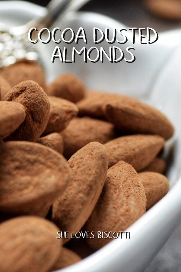 Cocoa dusted almonds in a white serving bowl.