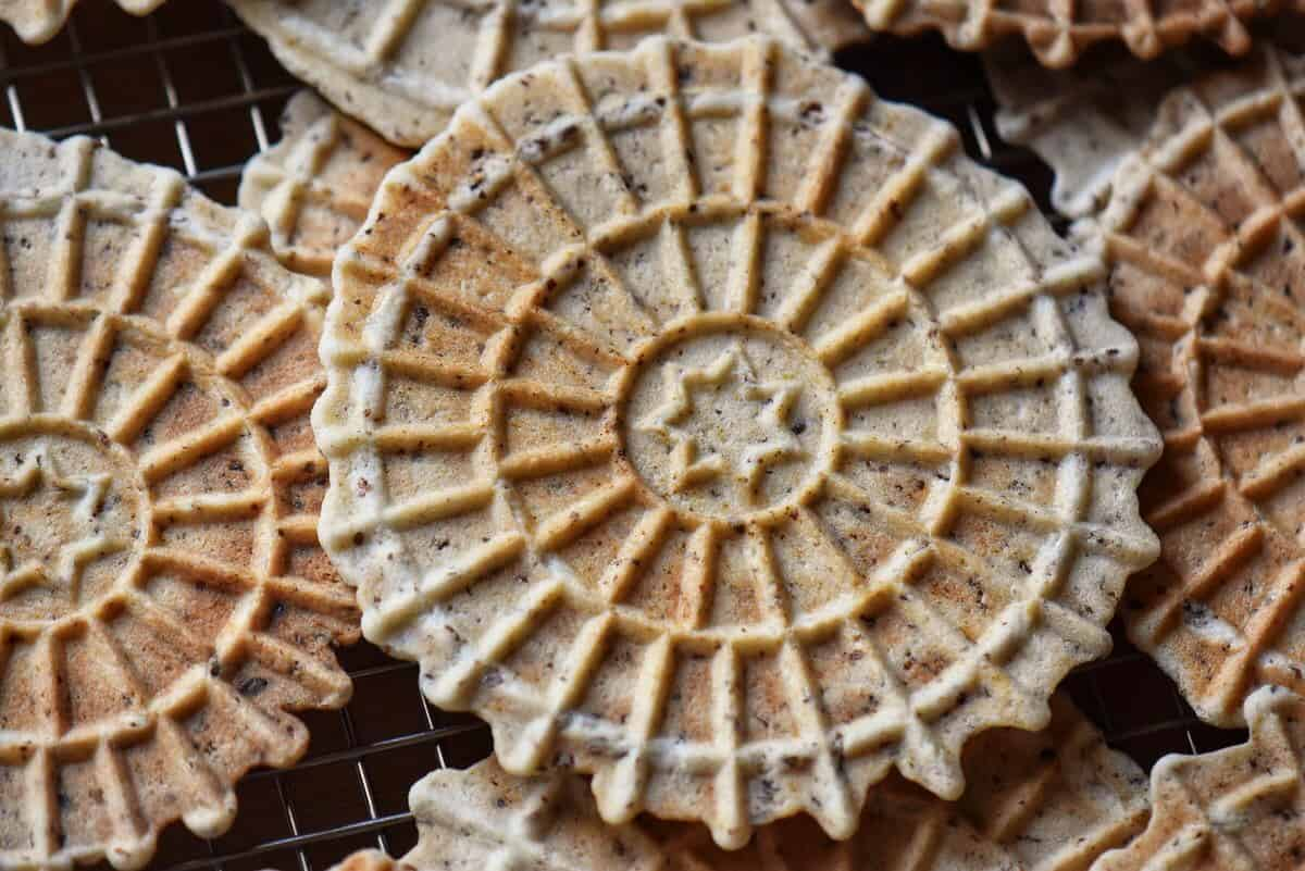 A close up of vegan pizzelle.