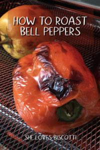 """A photo of a red roasted pepper entitled """"How to Roast Bell Peppers""""."""