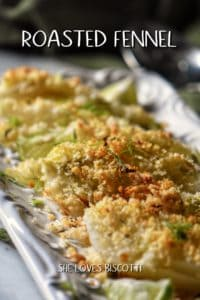 Panko encrusted roasted fennel on a white dish.