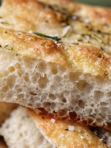 A close up of the airy crumb of this Italian focaccia recipe.