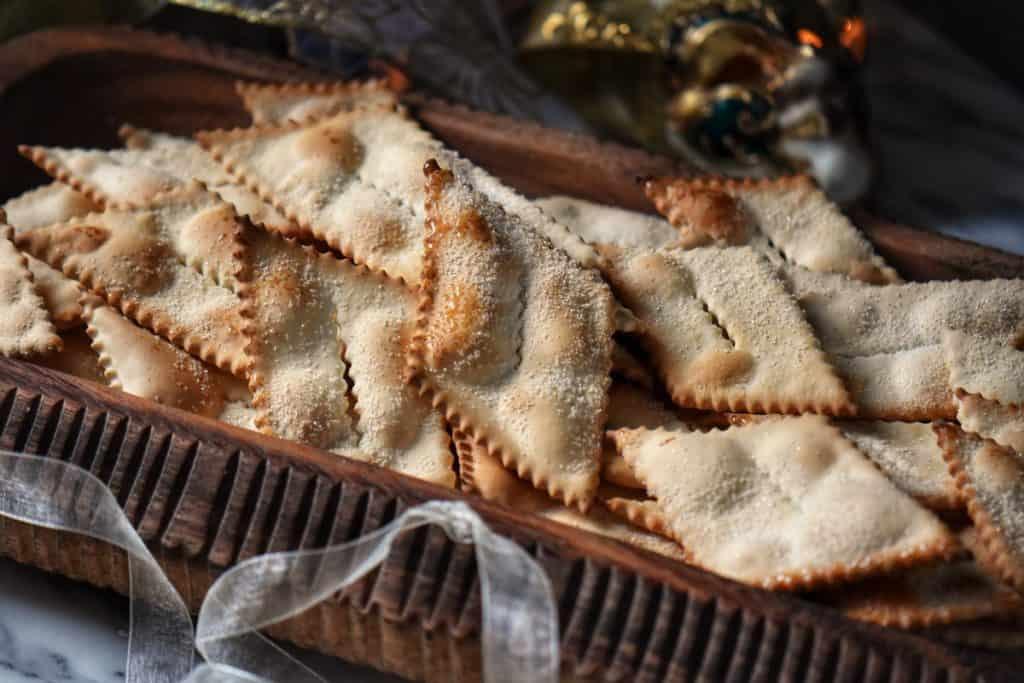 Rhomboid shaped Air Fryer Italian Cookies in a platter.