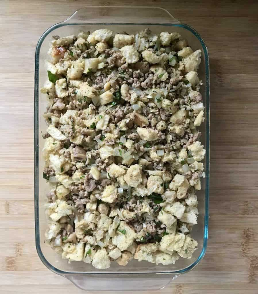 The chestnut stuffing in a large rectangular baking dish.