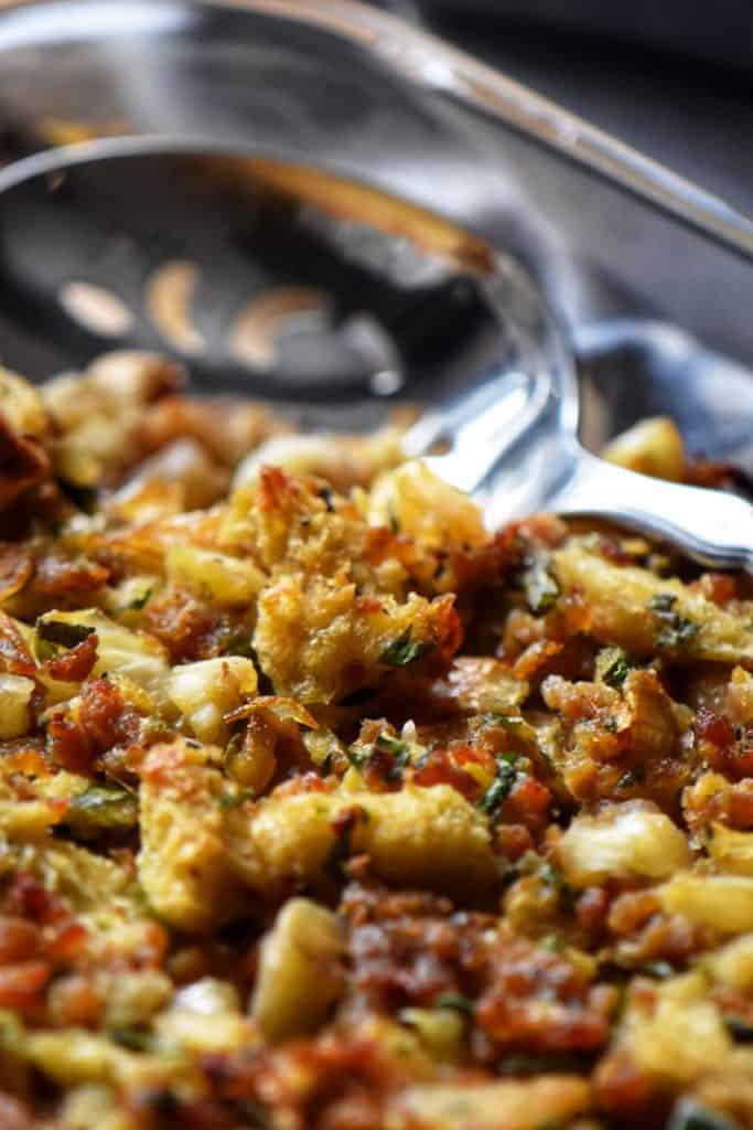 complete chestnut stuffing recipe in a baking dish, ready to be served.