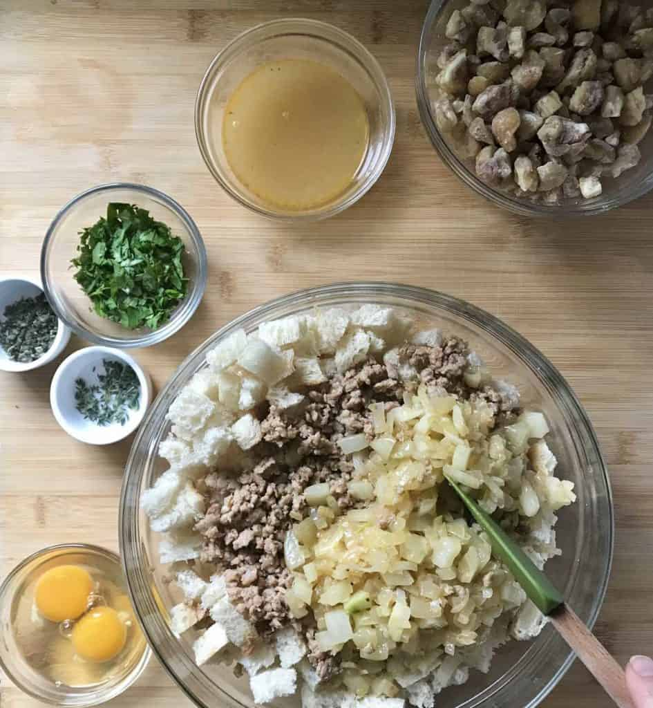 Sauteed onions and fennel added to sausage stuffing mixture.