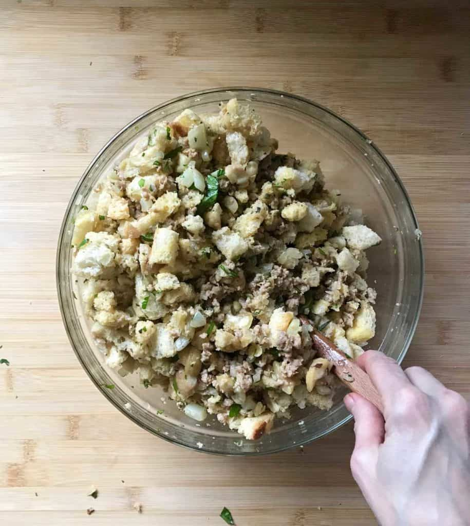 The chestnut stuffing recipe tossed together in a bowl.