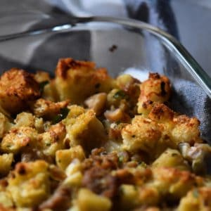 A close up of the crispy topping of chestnut stuffing.