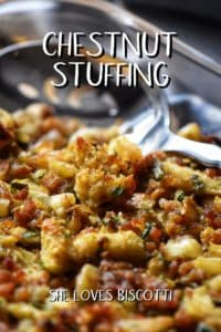 A baking dish filled with a crispy looking Chestnut Stuffing.