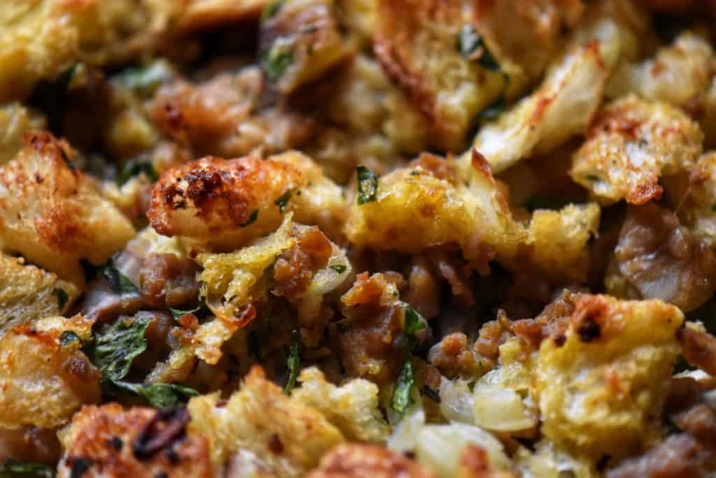 A close up of the crispy top of the chestnut stuffing.