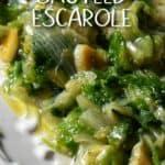 Sauteed Escarole on a white serving platter.