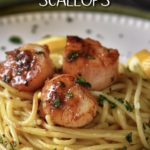 Three pan seared scallops placed on spaghetti.