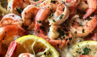 A pan of sauteed lemon garlic shrimp.