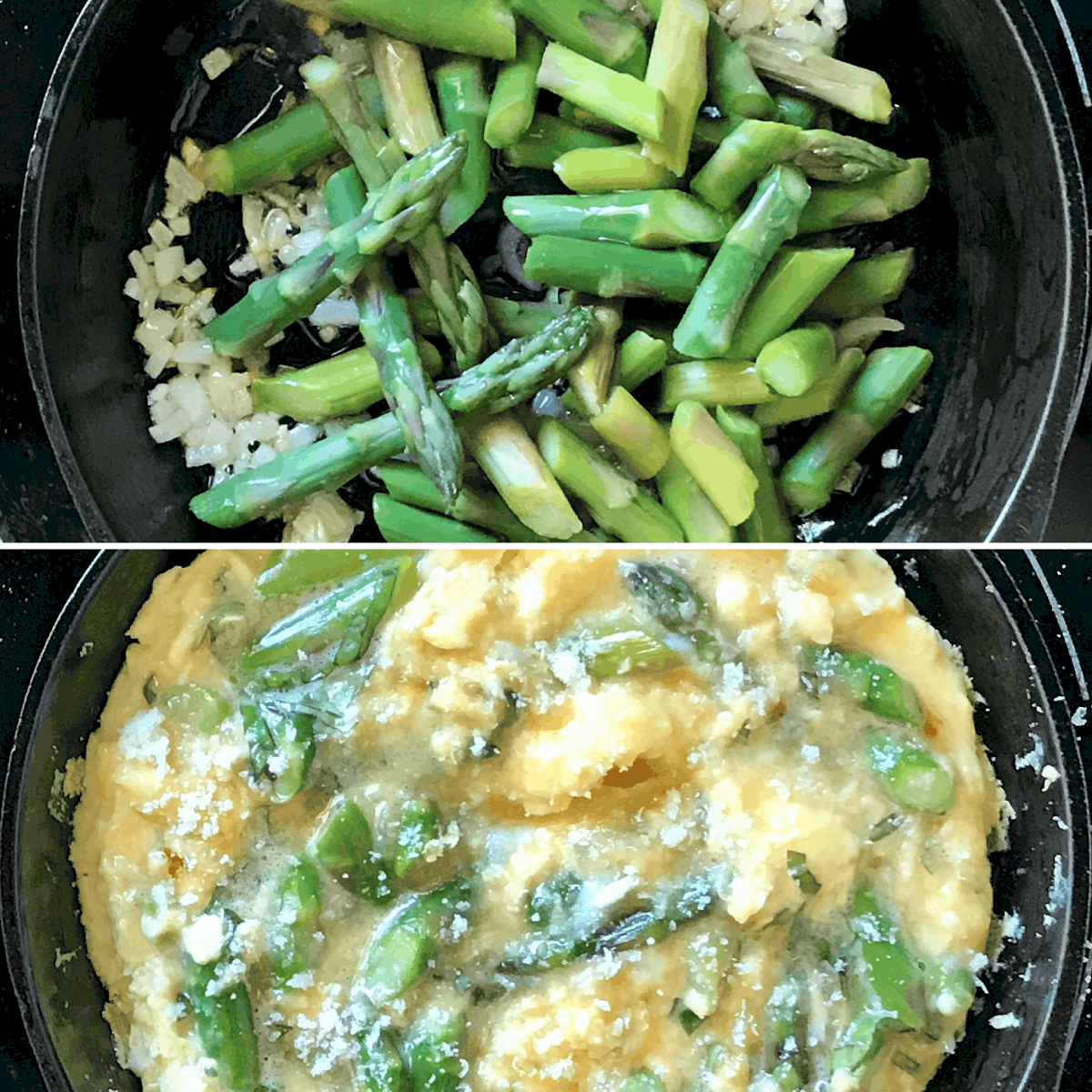 A photo collage of asparagus with and without the addition of the egg mixture.