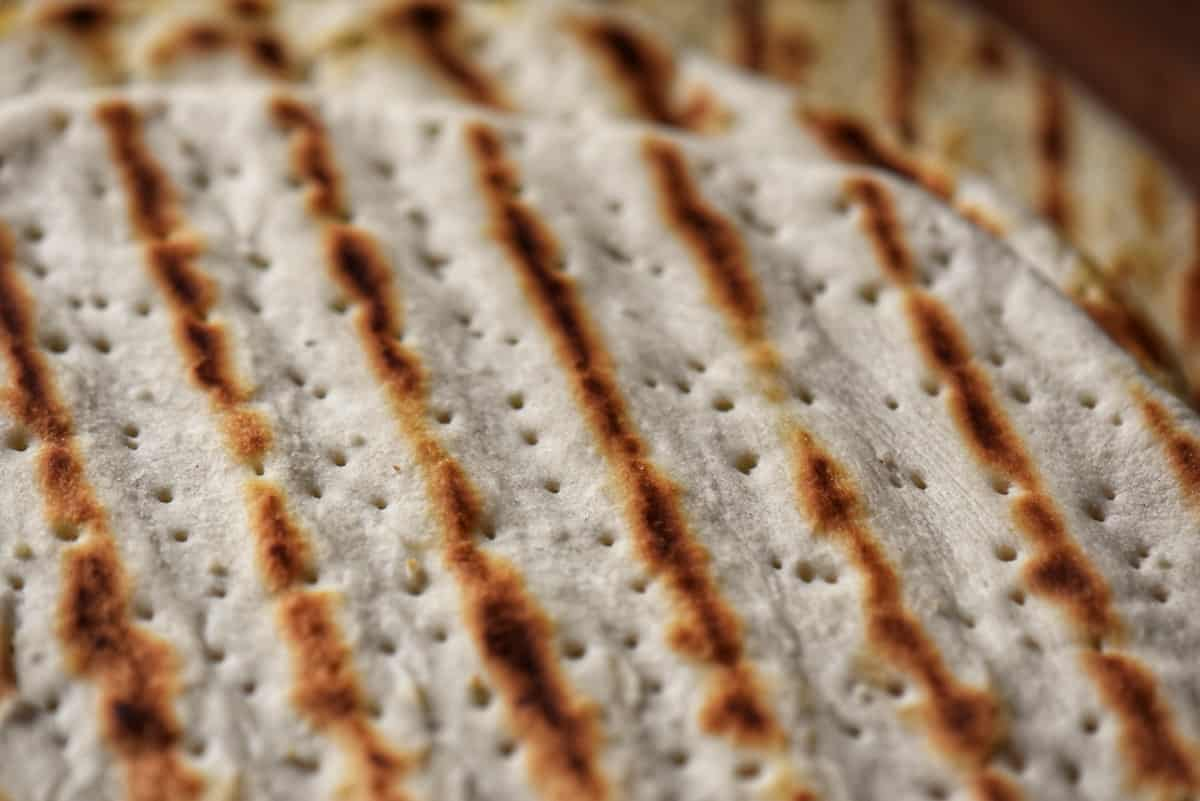 A close up of the grill marks on a piadina flatbread.