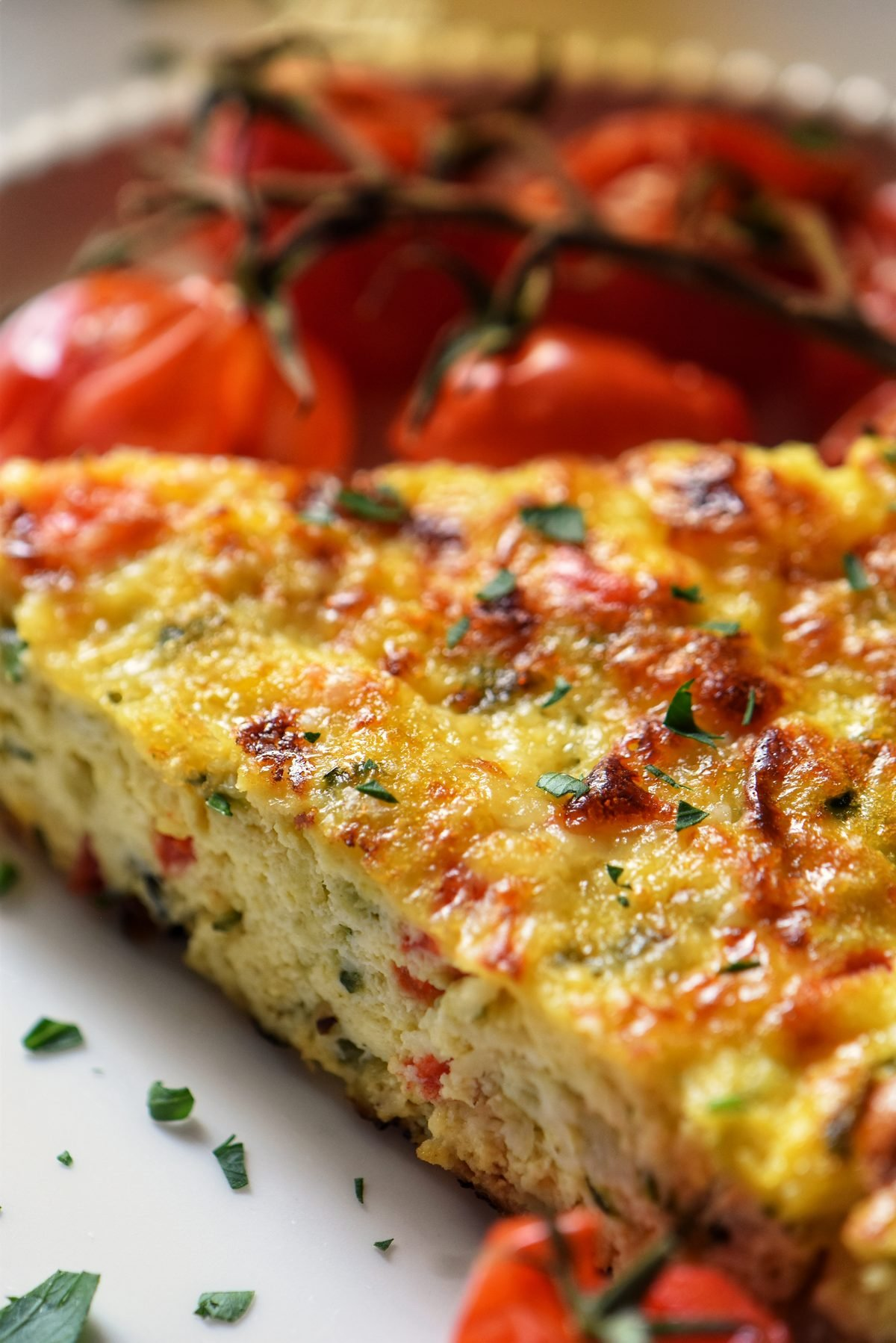 Zucchini Frittata on a white dinner plate