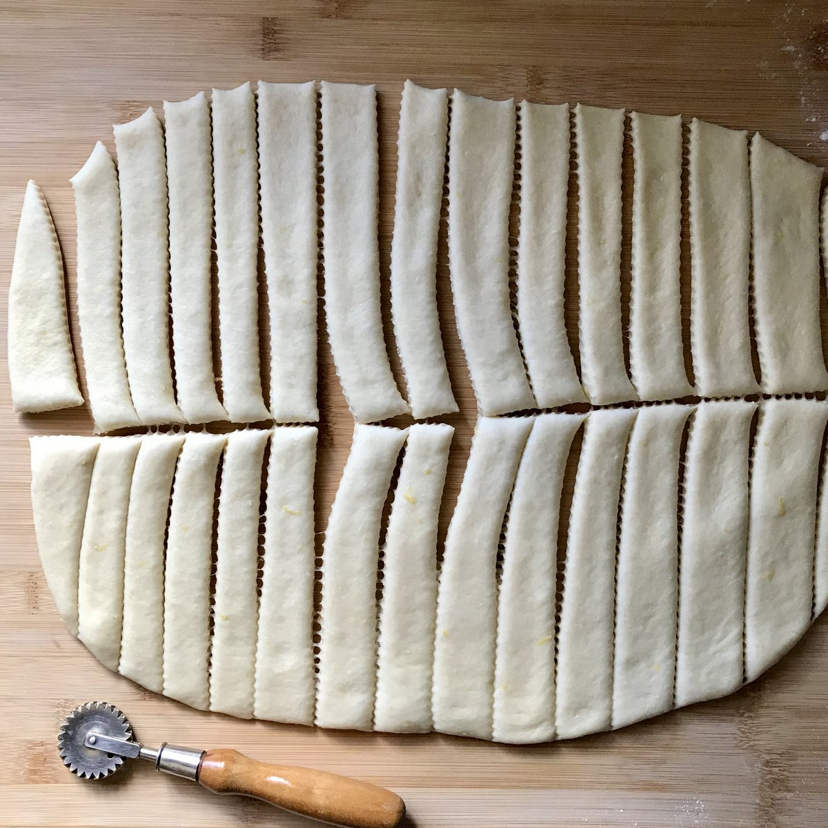 Dough cut into strips.