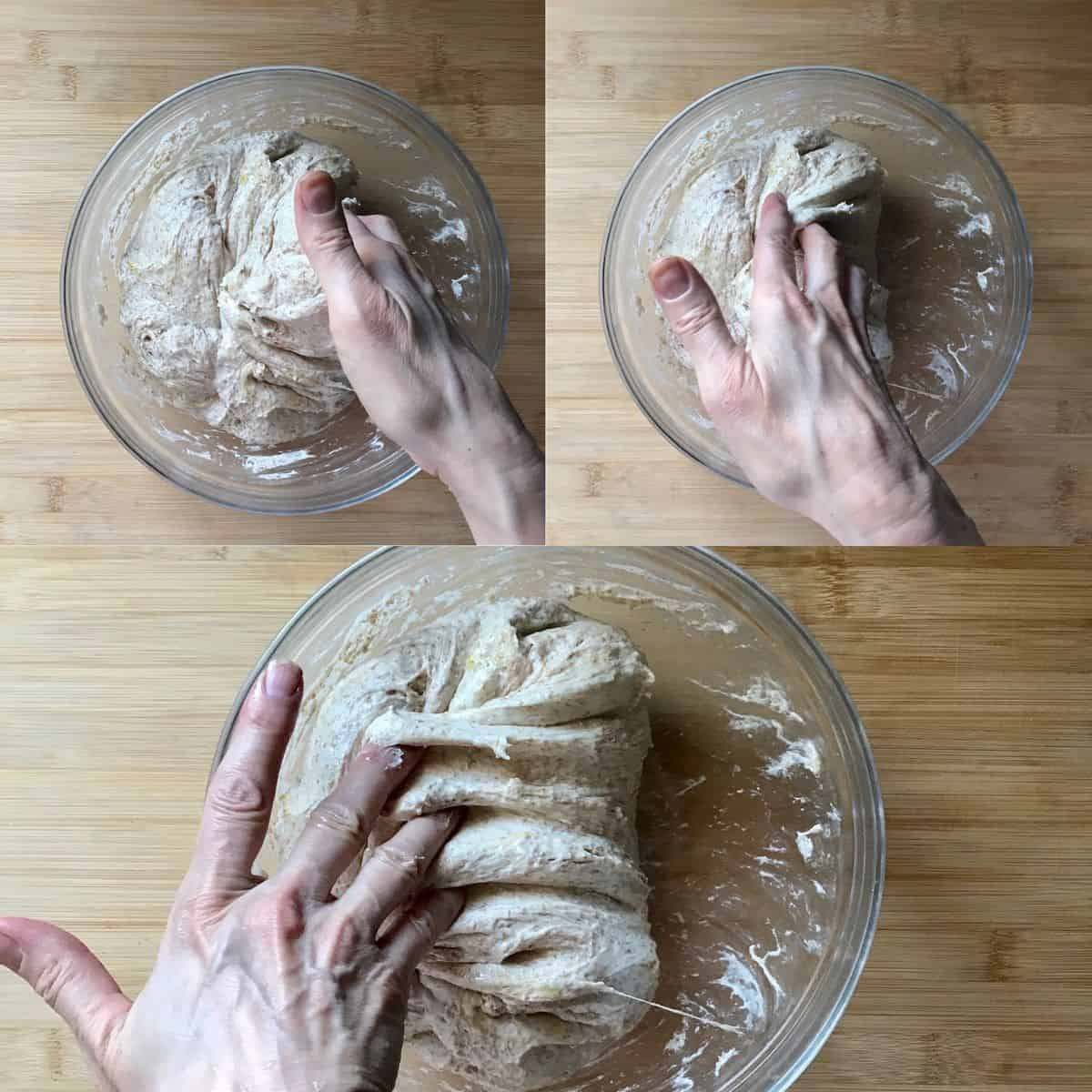 A photo collage of wholewheat pizza dough being folded in a bowl.