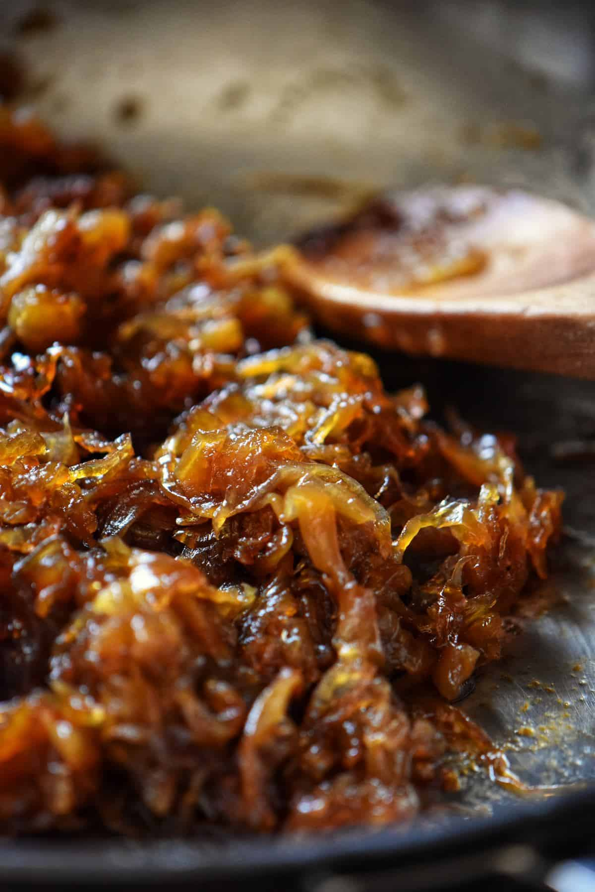 Golden brown caramelized onions in a heavy skillet.