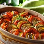 Oven roasted Italian vegetables in a baking dish.