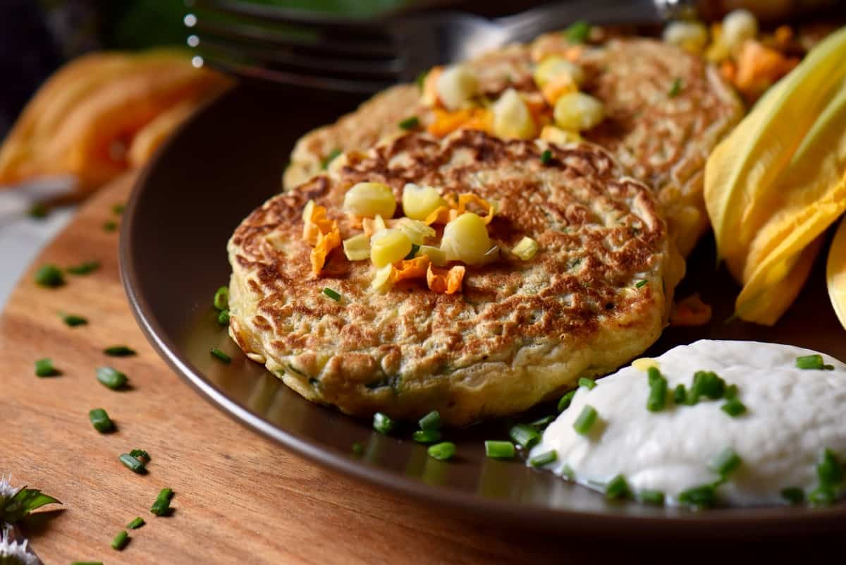 Savory pancakes on a plate.