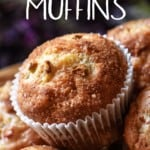 A close up of the crispy muffin top of rhubarb muffins.
