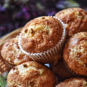 A pile of rhubarb muffins.