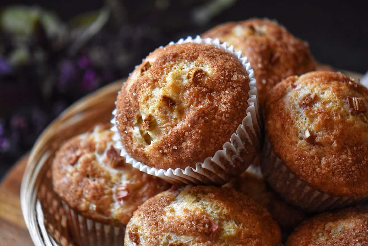 Rhubarb muffins in a wicker basket.