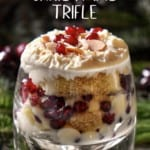Zuppa Inglese in a glass topped with whipped ricotta.