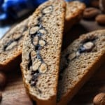 A sliced biscotti cookie with an almond and chocolate filling.