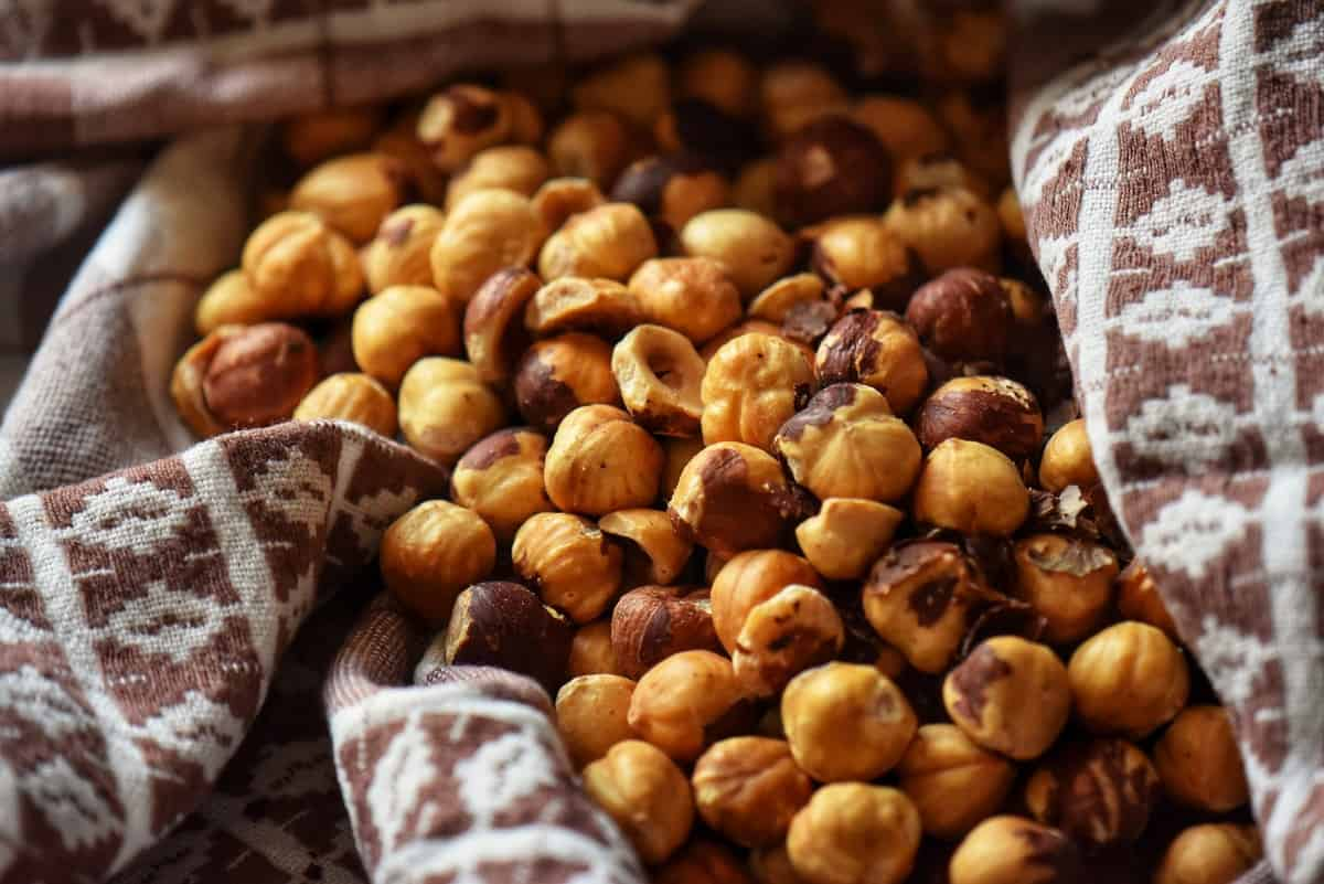 Roasted hazelnuts in a tea towel.