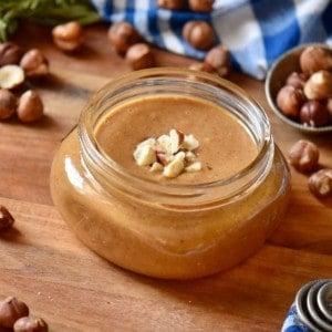 Hazelnut butter in a mason jar.