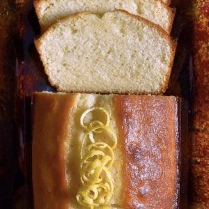 An overhead photo of a sliced lemon loaf.