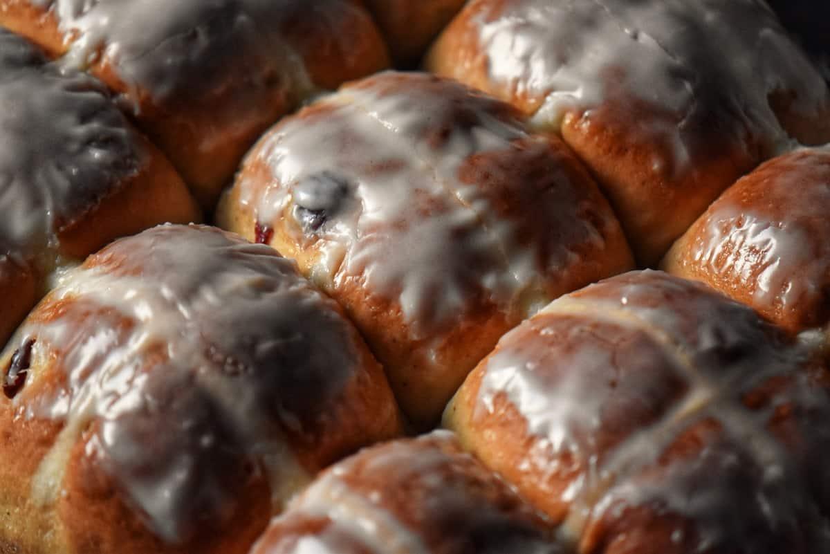 Glazed hot cross buns.