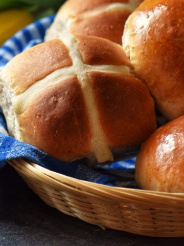 Hot cross buns in a basket.