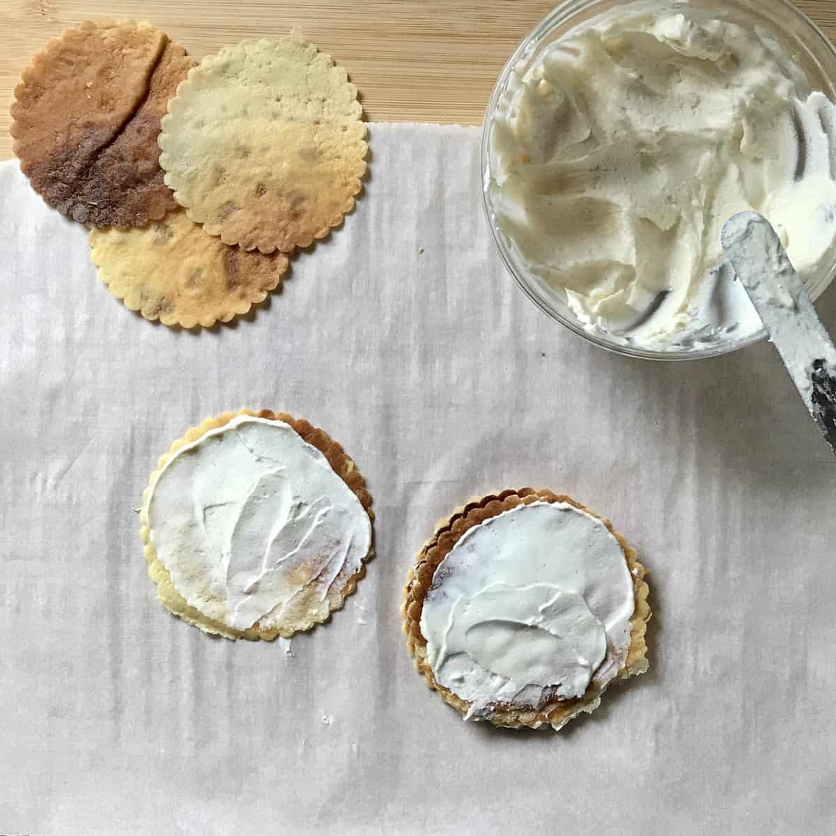 Crepes and ricotta filling.