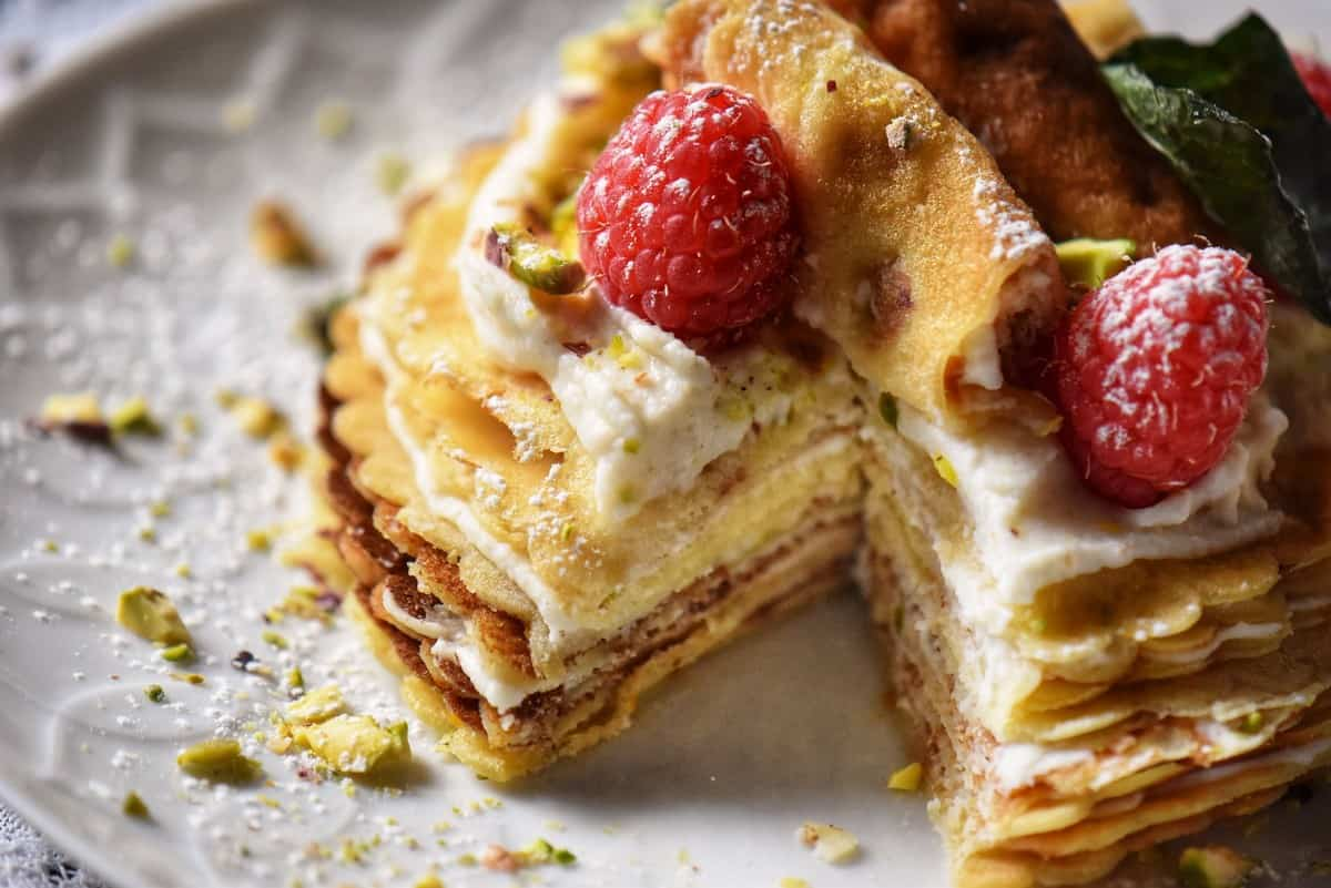 The interior of a crepe cake.
