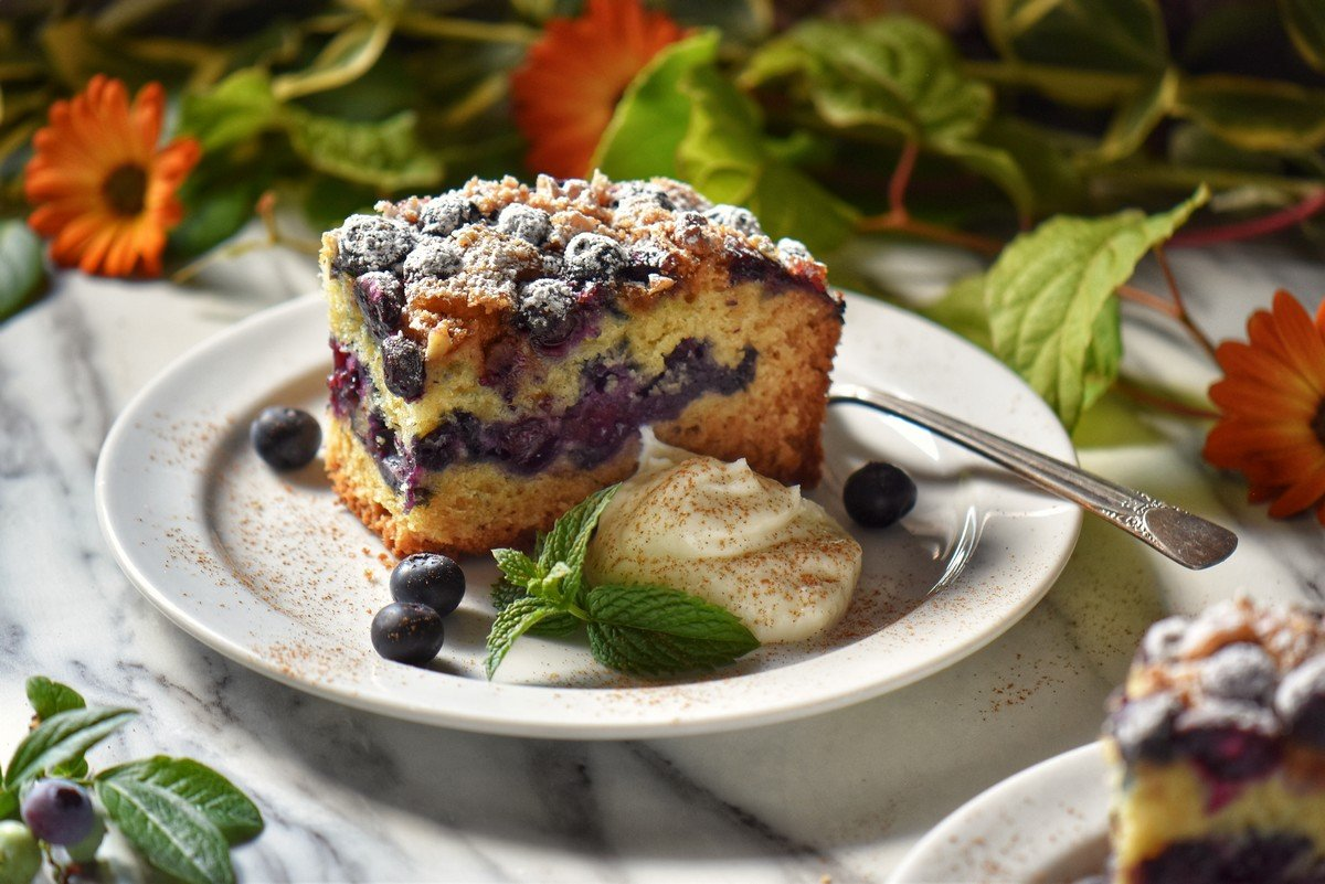 A piece of bluberry coffee cake on a white plate.