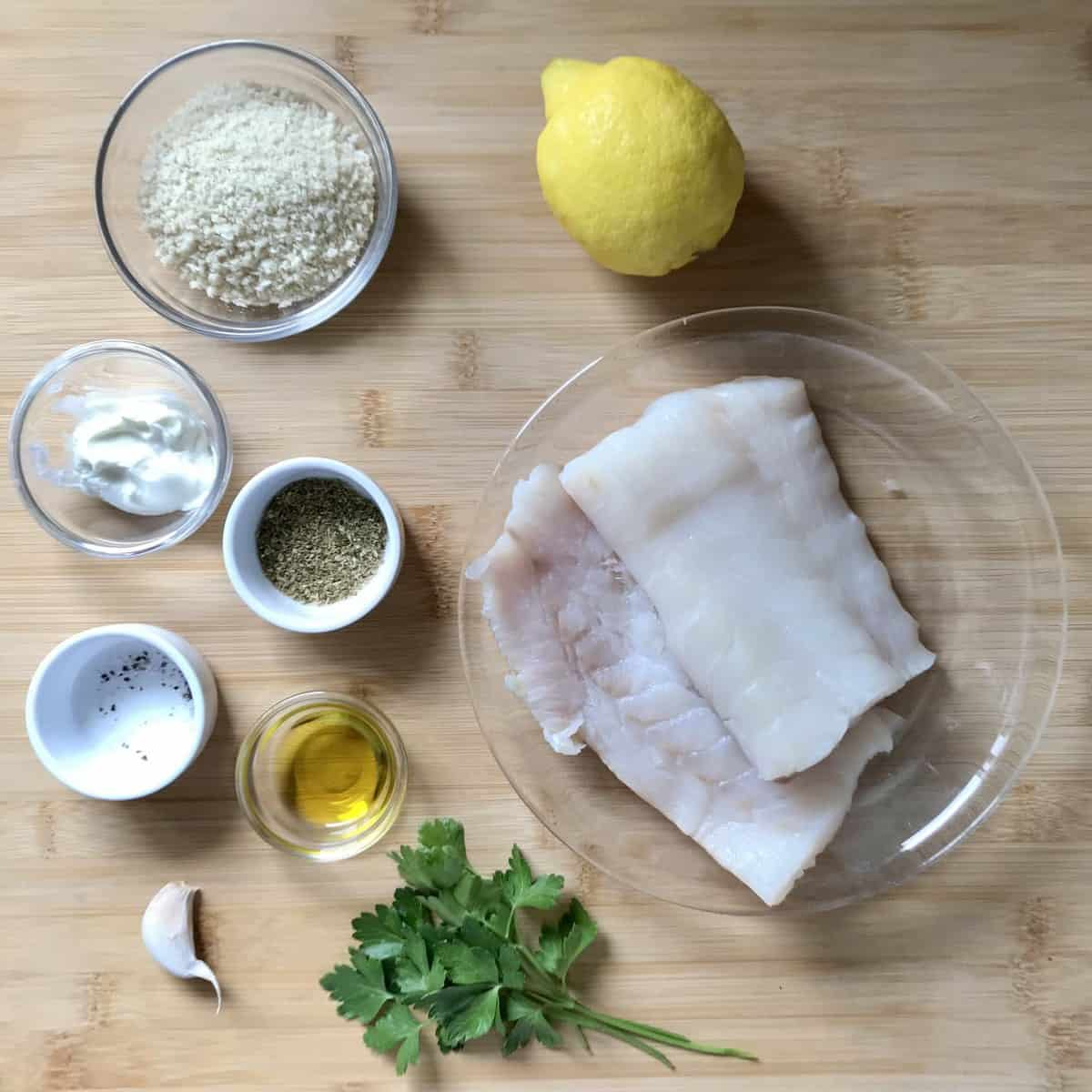 Ingredients to make cod in an air fryer.