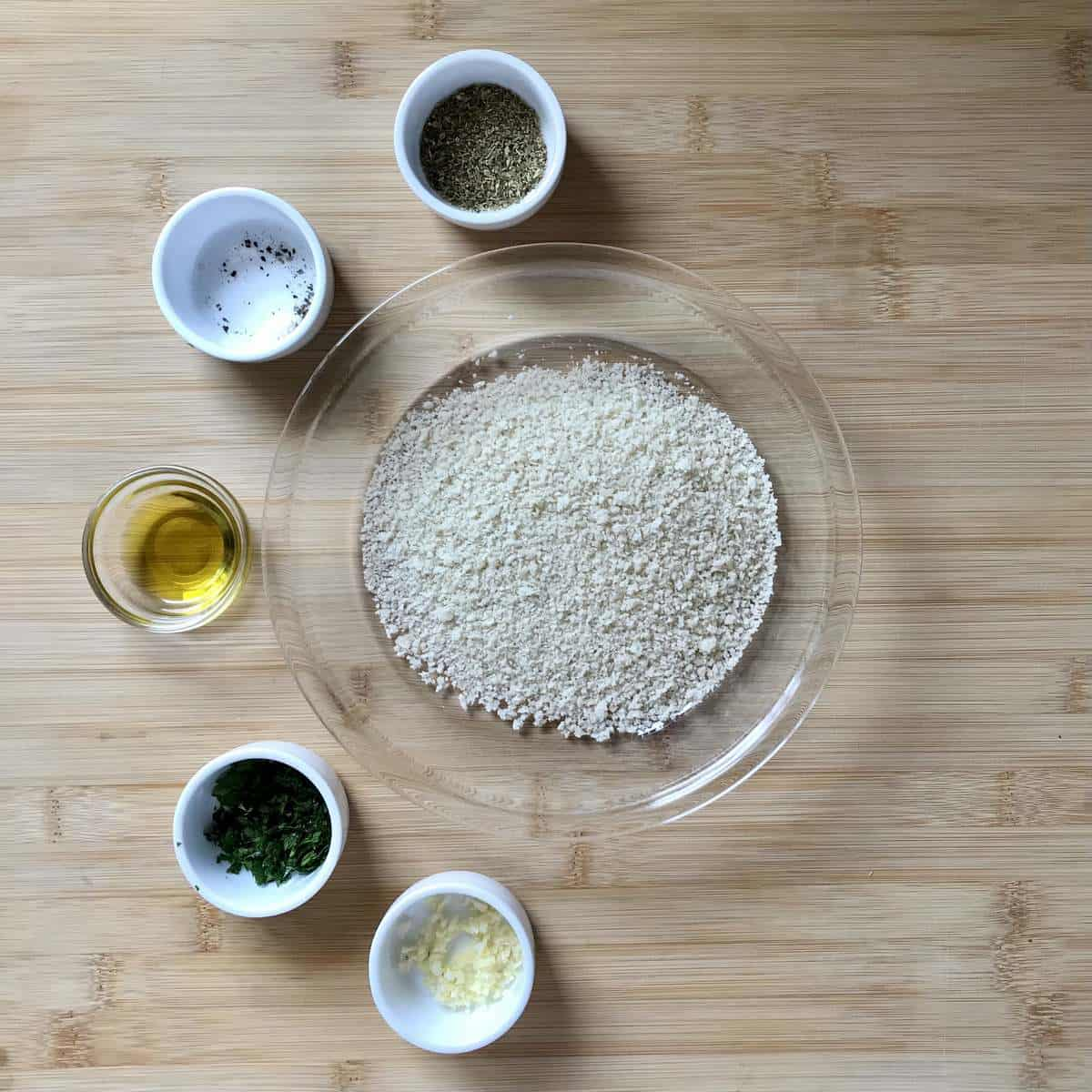 Ingredients to make the panko crumb topping for air fryer cod.