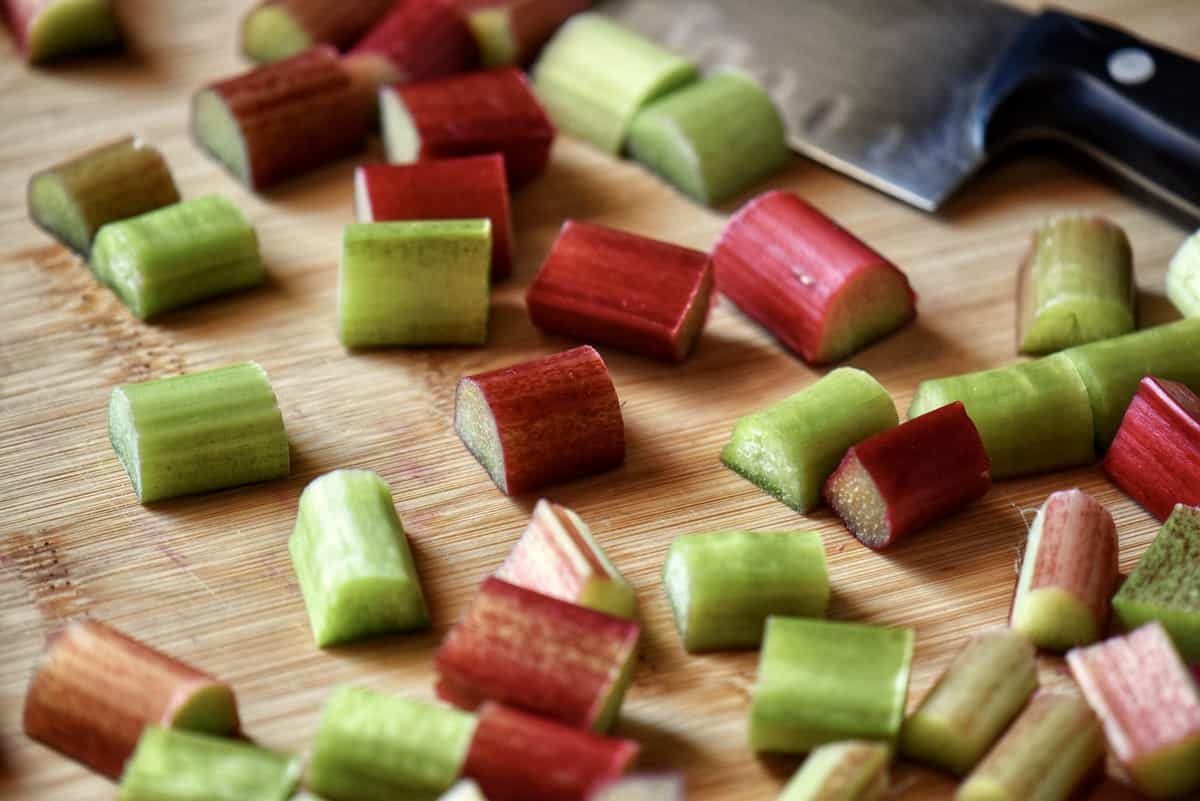 Diced rhubarb in a Ziploc freezer bag.