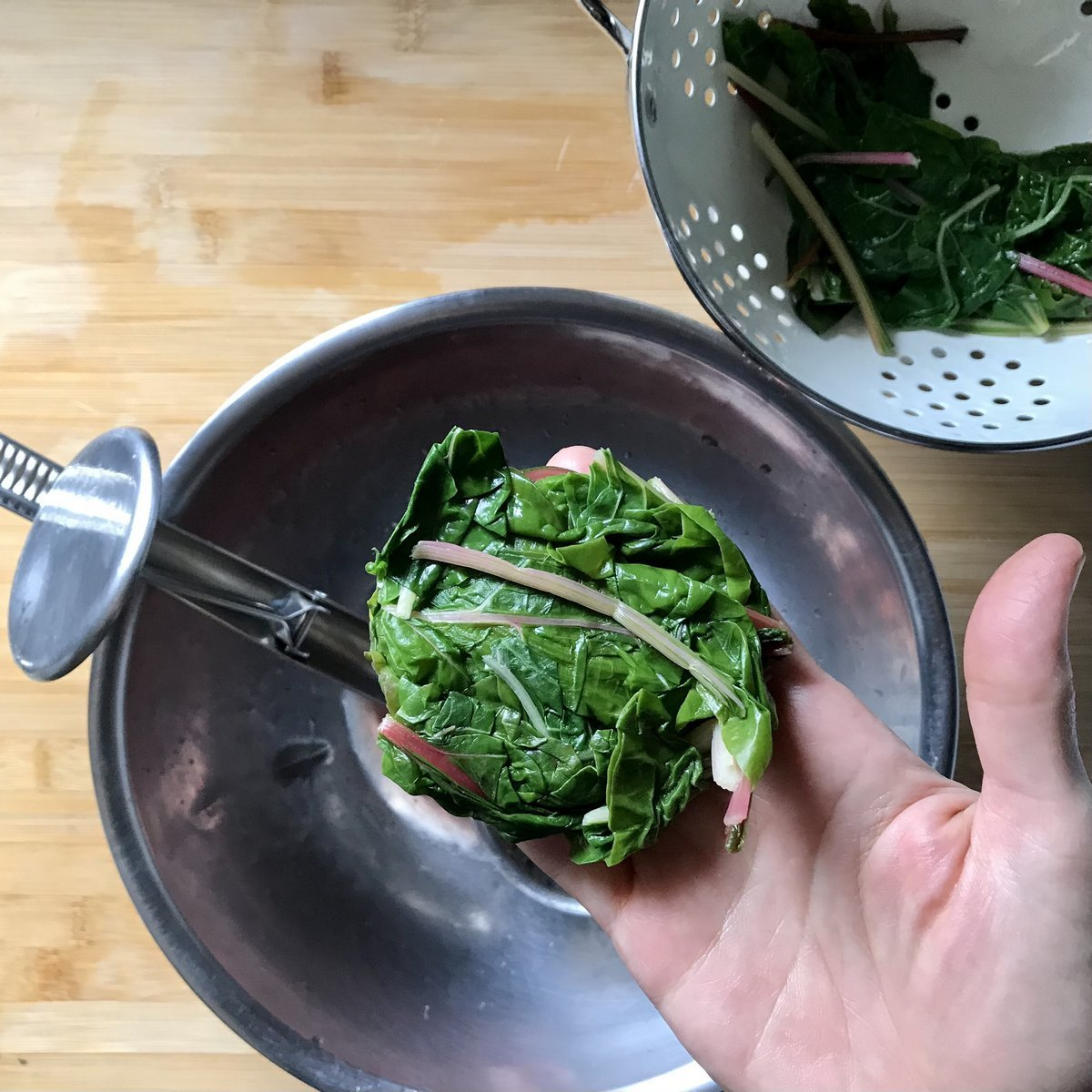 A small amount of Swiss chard without the excess moisture.