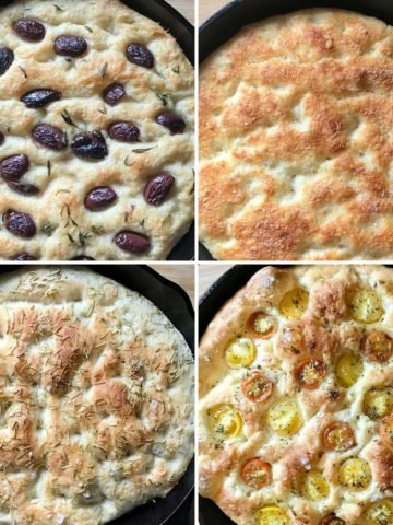 A photo collage of olive, parmesan, rosemary and cherry tomato focaccia.