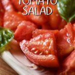 Chopped tomato salad in a white dish.