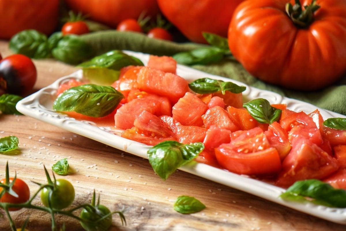 Fresh tomato salad with fresh basil.
