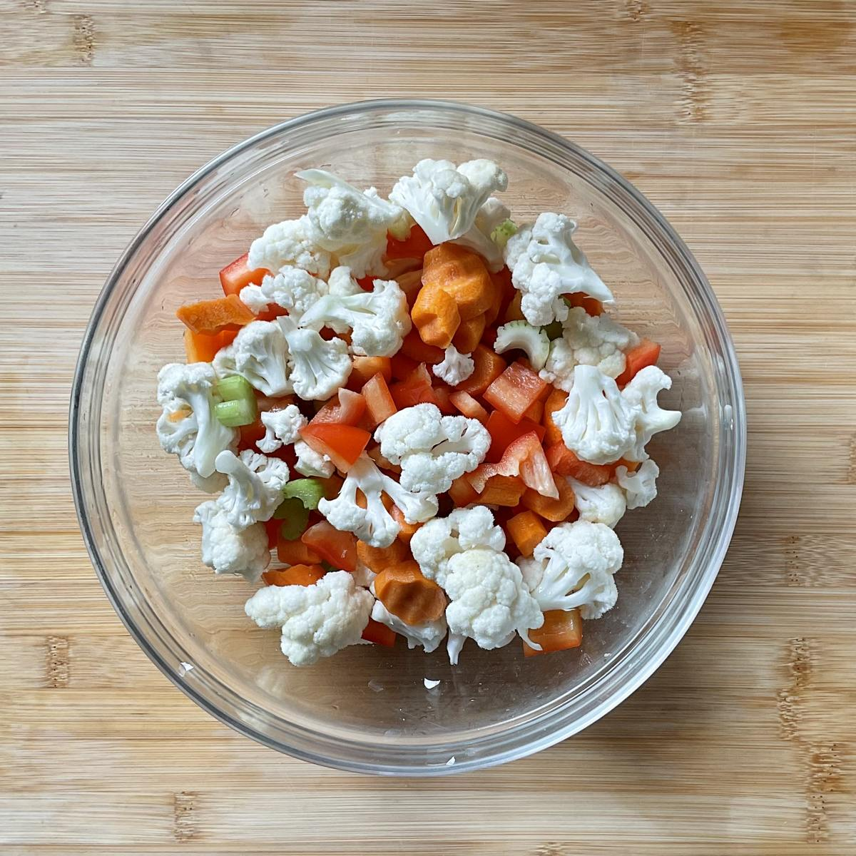 Cut vegetables in a bowl.