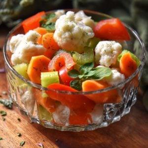 Italian Giardiniera in a dish.