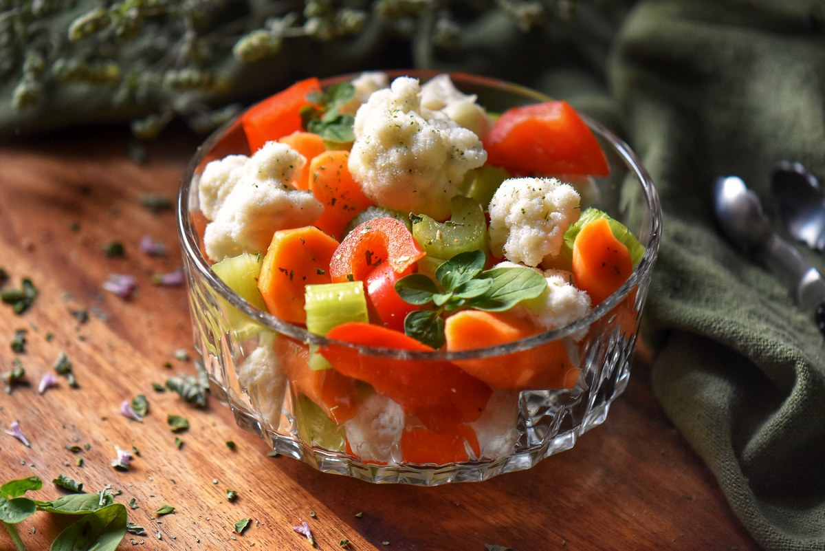 Italian pickled vegetables in a dish.