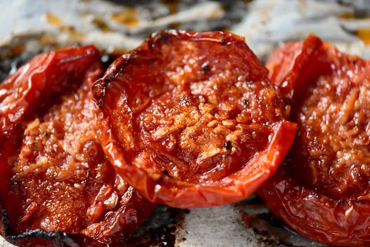 A close up of an oven roasted tomato.