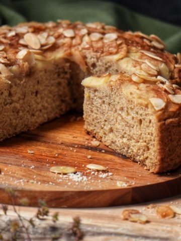 A slice of pear cake.