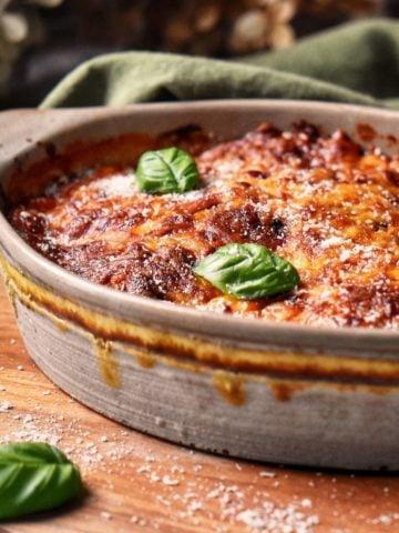 A casserole dish of Eggplant Parmesan.